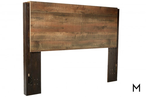 Windlore Queen Panel Headboard in Dark Brown with a Rustic Finish