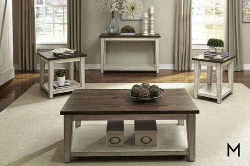 Lancaster Coffee Table in Weathered Bark Top and White Base