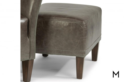 Wheatley Ottoman in Charcoal Leather
