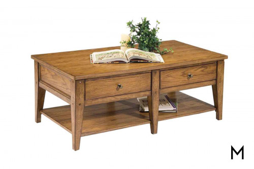 Lakehouse Coffee Table with Antique Brass Hardware