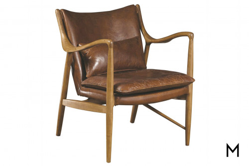 Griffin Accent Chair in Leather with Wood Frame