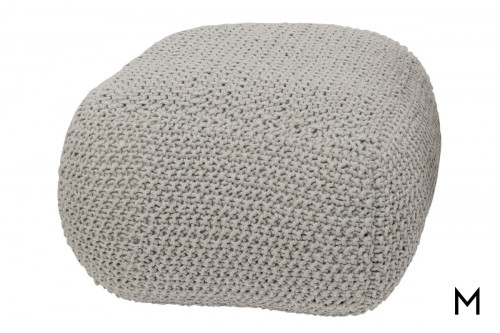 Gray Knit Cotton Pouf