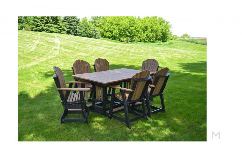 Amish Poly Mahogany Dining Set 5 Pieces