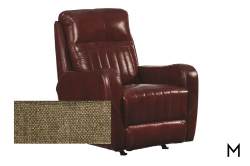 M Collection Race Track Rocker Recliner in Fineline Walnut