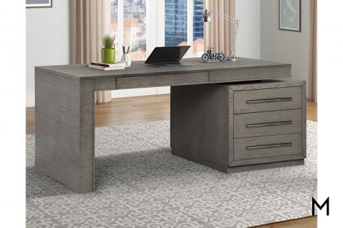 M Collection Modern Gray Executive Desk