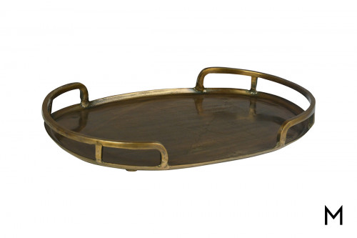 "Oval 24"" Cast Aluminum Tray with Handles"