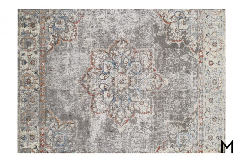 Faded Flowers Area Rug 8' x 11' in Pewter