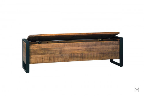 Glosco Backless Wooden Storage Bench with Metal Arms