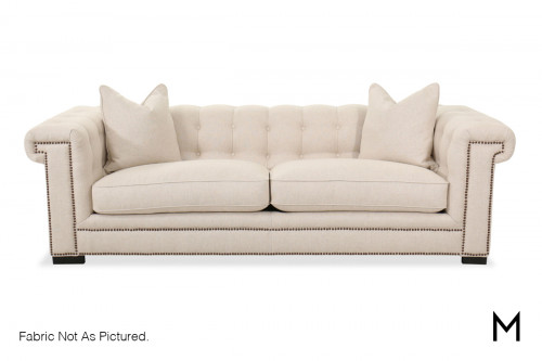 M Collection Modern Contemporary Sofa with Nailhead Trim