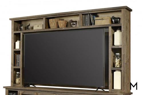 "Alder 97"" TV Console Hutch Top in Brindle Finish"