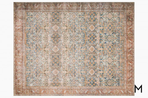 Layla Area Rug in Ocean and Rust
