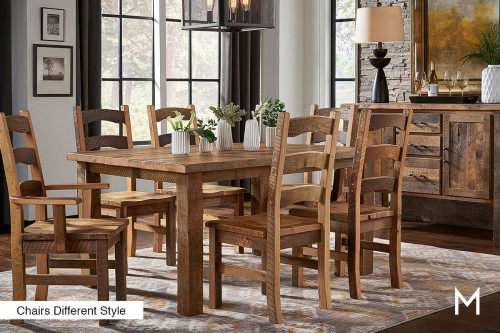 Reclaimed Barnwood Dining Set with Table and 4 Side Chairs