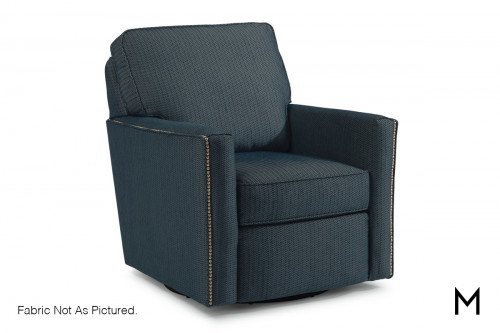 Swivel Accent Chair with Nailhead Trim