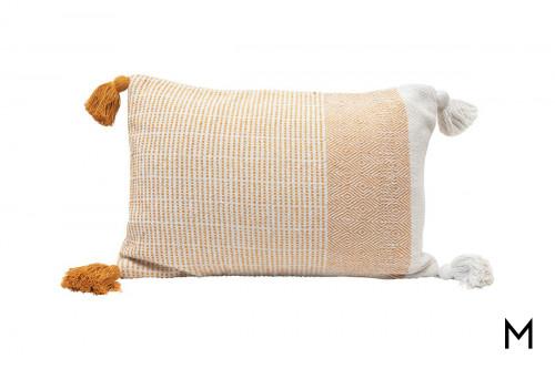Woven Tasseled Corner Lumbar Pillow