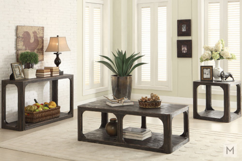 Bellagio Rectangular End Table in Weathered Black