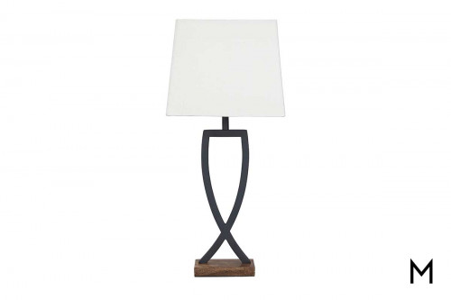 Metal & Wood Table Lamp with 3-Way Switch