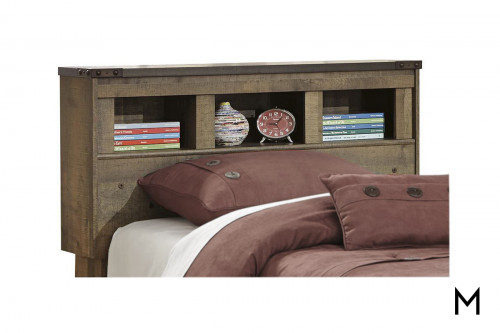 Trinell Twin Bookcase Headboard with a Rustic Finish
