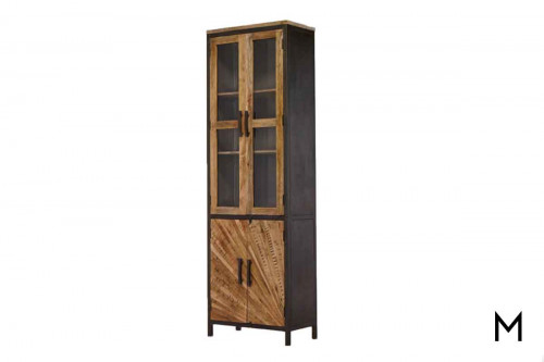 M Collection Right Pinwheel Construct Cabinet with Glass Doors