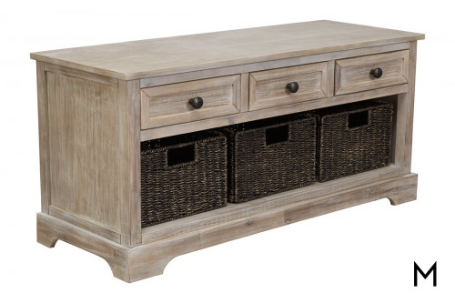 Storage Bench with Drawers and Baskets