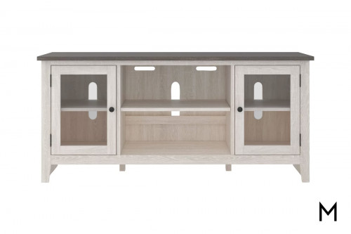 """Two Tone 60"""" TV Stand with 2 Glass-Front Doors"""