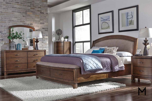 Avalon III King Storage Sleigh Bed in Pebble Brown