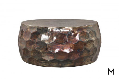 Shelton Honeycomb Cocktail Table in Oil Slick Aluminum