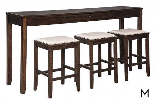 Rokaine Counter Height 4 Piece Table Set with Counter Height Table and 3 Stools