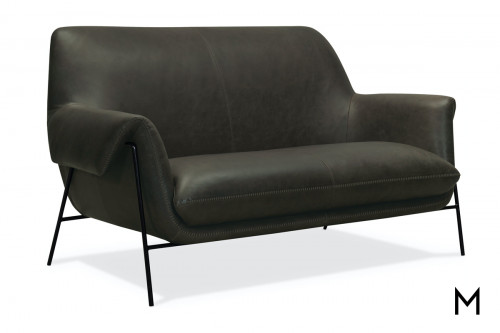 Leather Settee with Metal Frame