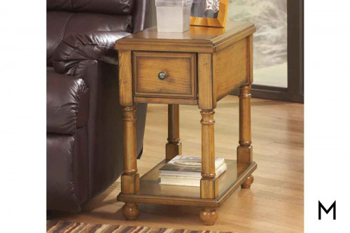 Breegin Chairside Table in Warm Brown