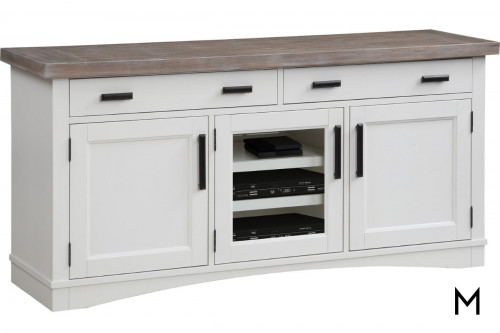 "M Collection Americana Modern 63"" TV Stand Console with Cotton White Finish"