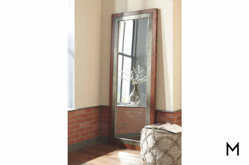 Niah Floor Mirror in Brown with Metal