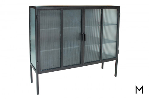 Reeded Glass Door Cabinet