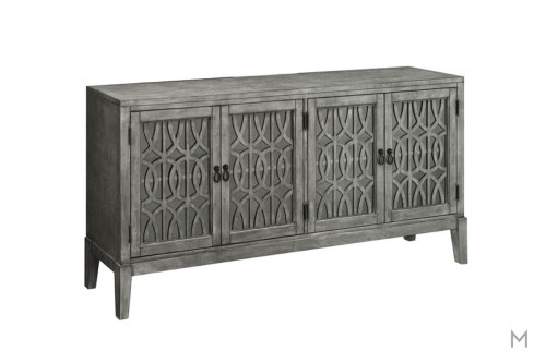 Four Door Media Credenza featuring Glass Doors with Overlay