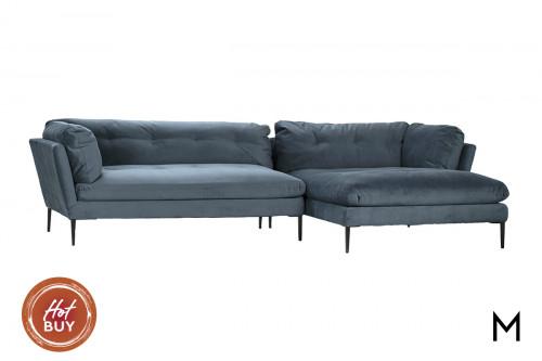 Ocean Blue Velvet Chaise Sectional Sofa