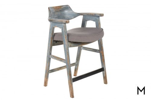 Vintage Rustic Counter Stool with Dark Gray Cushion