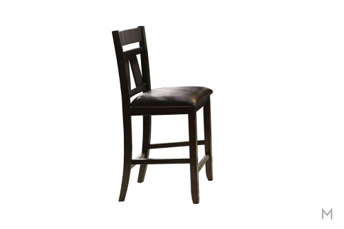 Lawson Counter Height Dining Chair in Brown with Black Upholstery