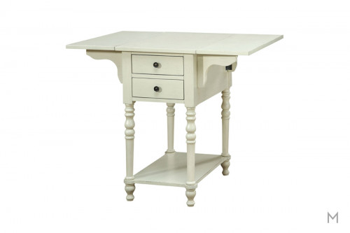Two Drawer Drop Leaf End Table in Cream