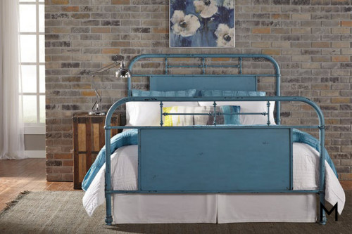 Vintage Series Queen Metal Headboard in Blue