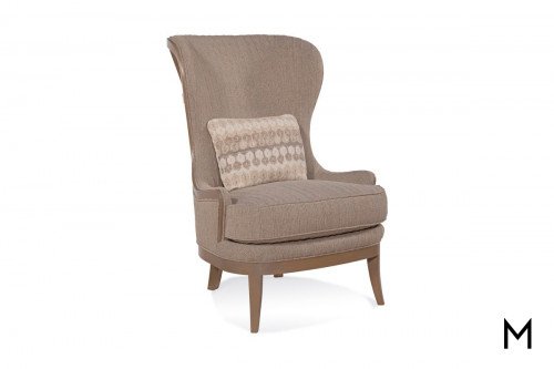 Exposed Wood Back Accent Chair in Ritz Caramel