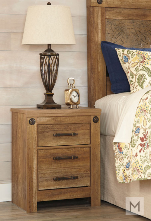 Ladimier Two Drawer Nightstand in Golden Brown with a Rustic Finish