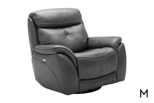 M Collection Homerun Swivel Power Recliner in Kipton Steel Gray Leather