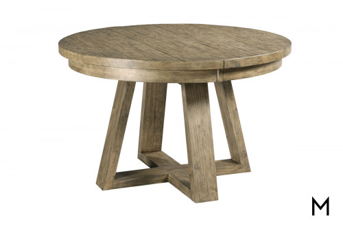 Farmhouse Round Dining Table with One Leaf