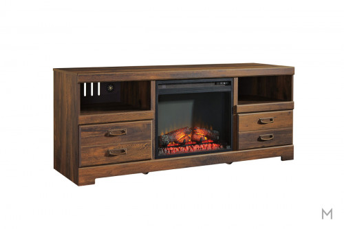 Quinden TV Stand with Fireplace with Storage Drawers