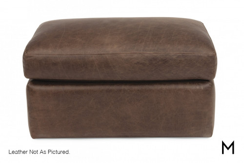 Leather Ottoman in Light Brown