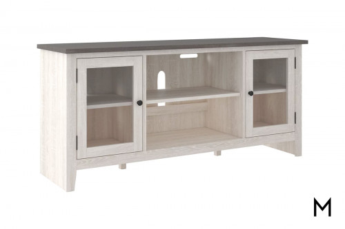 "Two Tone 60"" TV Stand with 2 Glass-Front Doors"