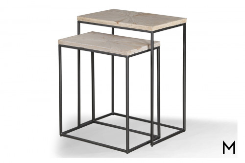 M Collection Modern Chairside Nesting Tables Set of Two