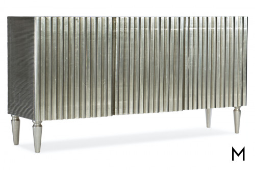 Modern Entertainment Console with Silver Foil Finish