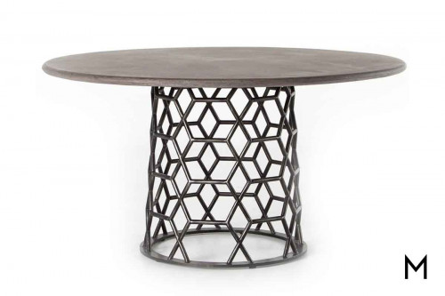 "Arden Dining Table 54"" with a Concrete Top and Metal Pedestal"