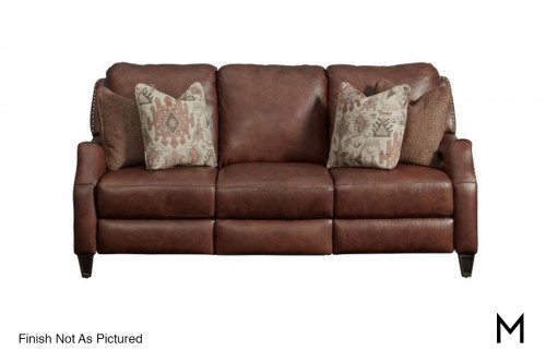 M Collection Primrose Park Double Reclining Power Sofa With Pillows