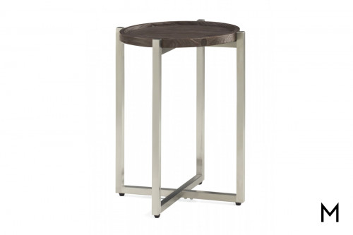 Platform End Table with Weathered Gray Wood Finish